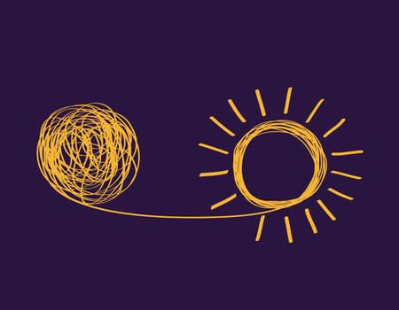 concept icon showing untangling tangled line into sunny creative idea. metaphor for mentor or coach in troubled business. concept of dealing with chaotic thought processes, confusion, personality disorders, and depression