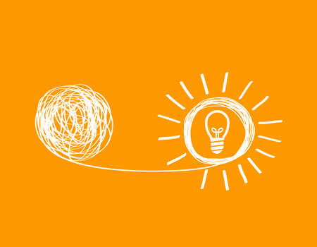 concept icon showing untangling a tangled line into a creative idea. a metaphor for a mentor or coach in a troubled business. the concept of dealing with chaotic thought processes, confusion, personality disorders, and depression.