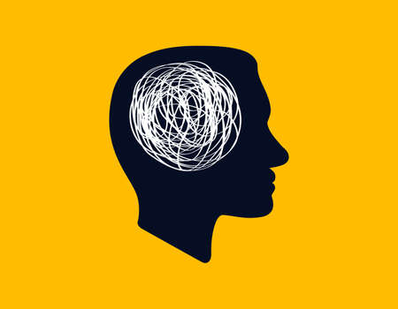 concept icon showing silhouette of human head with tangled line inside, like brain. concept of chaotic thought process, confusion, personality disorder and depression