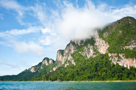 surat: Fog on the mountain in the middle Ratchapapha Dam  Surat Thani Province, Thailand  Stock Photo
