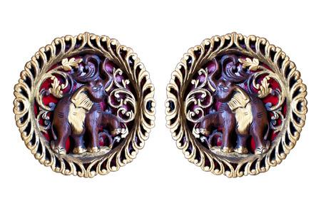 twain: Wood carving twain elephant Stock Photo