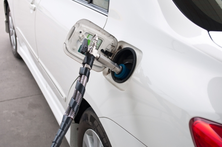 ngv: refill CNG gas at fuel station