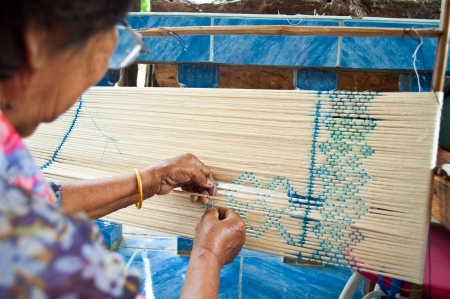 Process of weaving, dyeing, weaving ancient Thailand as silk ,at Roi Ed , Thailand