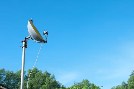 dan: Satellite dish made from pan in Luang Por Parn Khlong Dan Anu Sorn School,Samut Prakan Province in Thailand