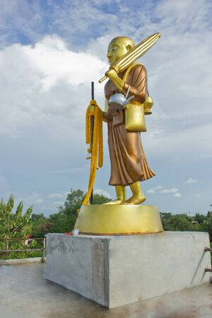 disciples: Disciples of the Buddha  His name is Valerio  It is believed that the people will have luck  A temple in Aranyaprathet  Sa Kaeo Province, Thailand