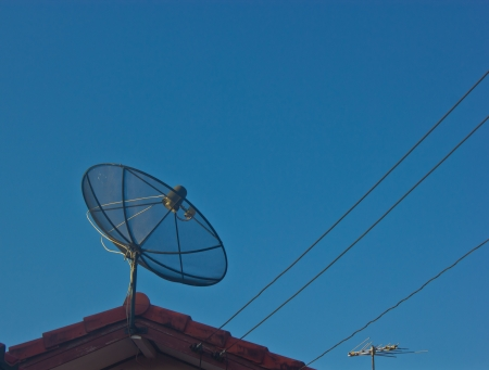 Satellite dish receiver,this new technology is very common nowadays  photo