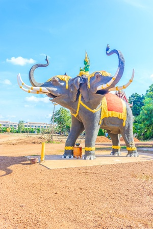 Elephant Three head statue in the Wat Dong Ngoo temple Sa Kaeo Province of Thailand photo