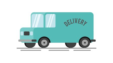 Delivery van flat icon illustration