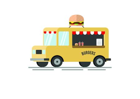 Burger Food caminhão vector plana ilustração Foto de archivo - 93966230