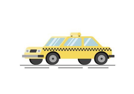 Ilustração em vetor plana táxi amarelo Foto de archivo - 93976661