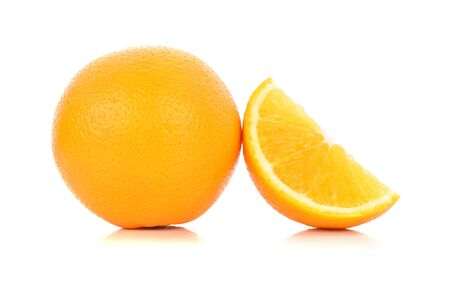 cantle: Whole orange fruit and his segment or cantle isolated on white background cutout Stock Photo