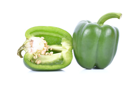 bell peper: green sweet pepper isolated on white background Stock Photo