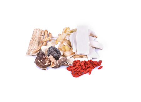 longevity medicine: Dishes prepared with medicinal herbs Chinese medicine longevity food Stock Photo