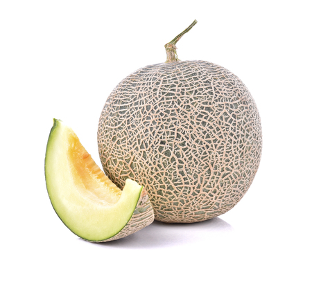Cantaloupe: Ripe cantaloupe melon isolate on a white background (Clipping Path included)