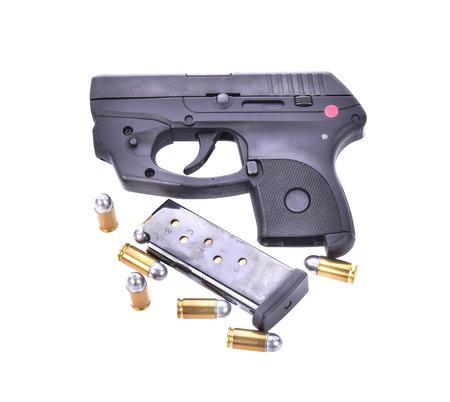anti war: Bullets with the gun Stock Photo