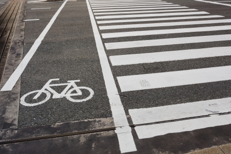 Mark of a bicycle zone and Pedestrian crossing Stock Photo - 21431102