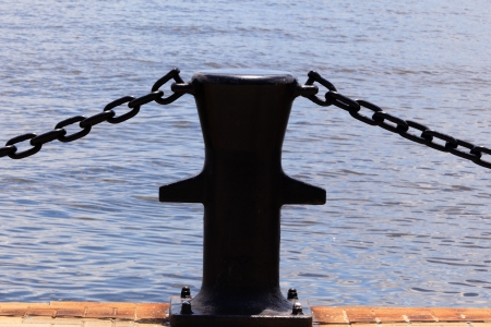 Fencing of the chains on the sea Stock Photo - 21420938