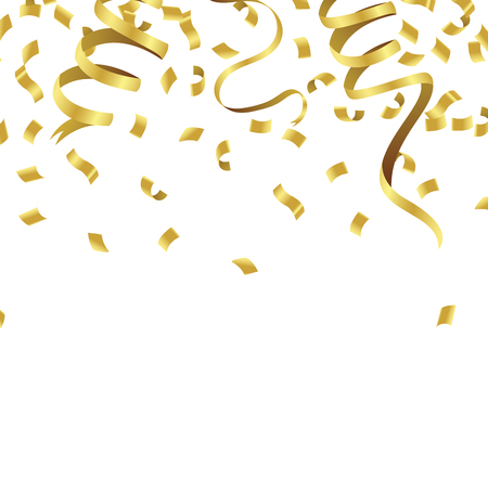 Stock vector illustration defocused gold confetti isolated on a transparent background Vectores