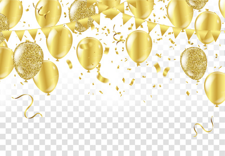 Gold balloons, confetti and streamers on white background. Vector illustration.