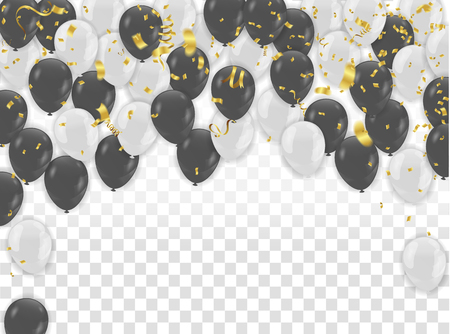 White and black balloons design. Celebration Vector illustration.