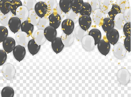 White and black balloons design. Celebration Vector illustration.