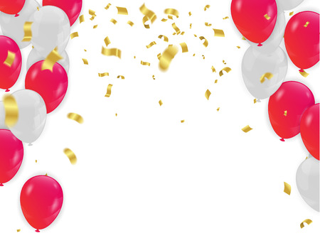 Red White balloons, confetti concept design background. with confetti and red and ribbons.