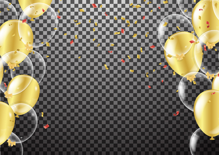 Gold transparent balloon on background balloons, vector illustration. Confetti and ribbons, celebration background template.