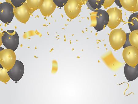 festive card golden balloons and confetti, party invitation. festive celebration