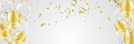 Ilustración de vector de globos de fiesta Cintas de bandera de confeti y cintas, plantilla de fondo de celebración.