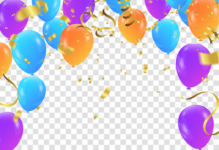 Festive colors flags and balloon banner template, background vector illustration. Иллюстрация