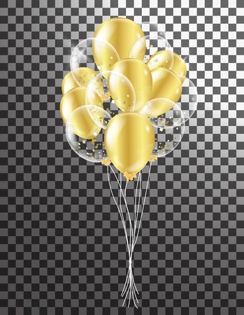 Gold transparent balloon on background balloons, vector illustration. Confetti and ribbons, Celebration background template
