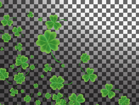 Saint Patrick's Day greeting card with sparkled green clover leaves and on background - Happy St. Patricks Day
