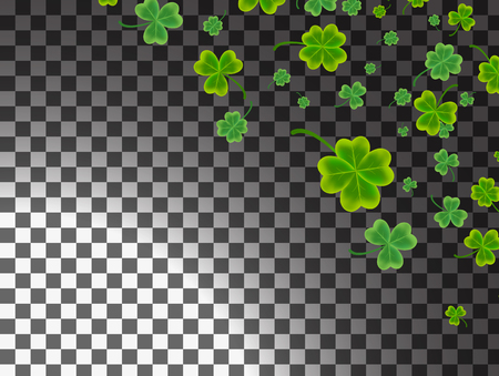 Saint Patrick's Day greeting card with sparkled green clover leaves and on background.