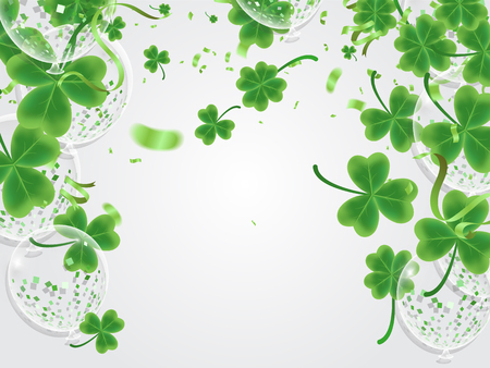 Celebration Happy St. Patrick's day lettering on sparkling dark green clover shamrock leaves background. Abstract Irish holiday backdrop or poster balloon vector illustration.
