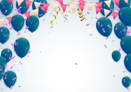 Balloons and holiday confetti, vector holiday. Illustration of color balloons background vector. 向量圖像