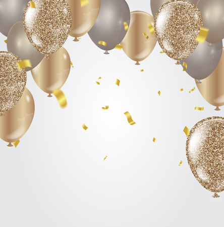 Gold balloons, confetti and streamers on white background vector illustration.