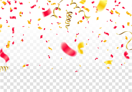 Party Flags With Confetti And Ribbons Falling On Transparent Background. Celebration Event & Birthday. Vector