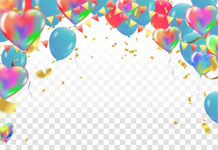 balloons and confetti on transparent background vector Illustration Vectores