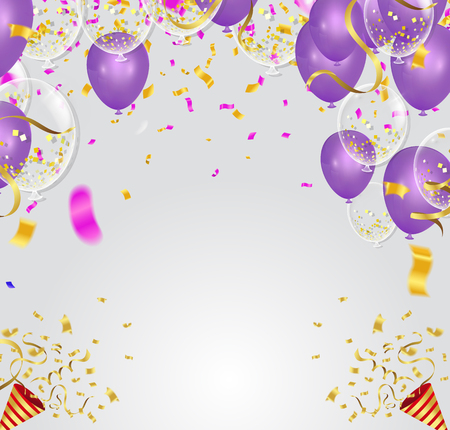 Purple balloons, confetti concept design template   Vector illustration.