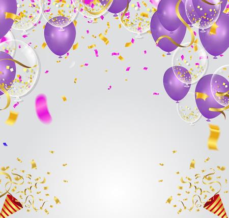 Purple balloons, confetti concept design template   Vector illustration.