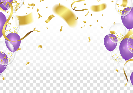 Purple balloons and confetti party vector Illustration of a Party Background with Confetti Curly Ribbons and Balloons on the upstairs isolated on white background. 3D illustration of celebration, party balloons Illustration