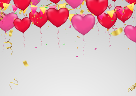 Red heart balloons, vector illustration. Confetti and ribbons, Celebration background template with confetti and  ribbons