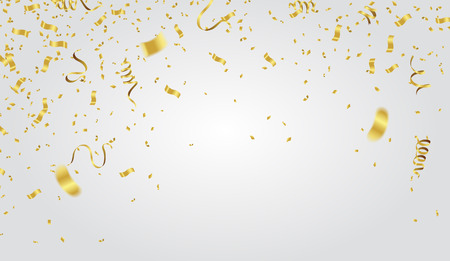 Coriandoli astratti dell'oro di celebrazione del partito del fondo su fondo bianco. Concetto di auguri di Natale. Archivio Fotografico - 97129450