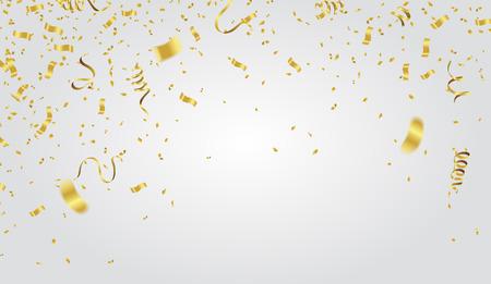 résumé fête de la fête des confettis de fête d & # 39 ; or sur fond blanc. notion de voeux de noël