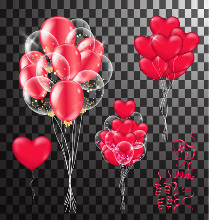 Red balloons, heart balloons transparent banner template, background. vector illustration Illustration