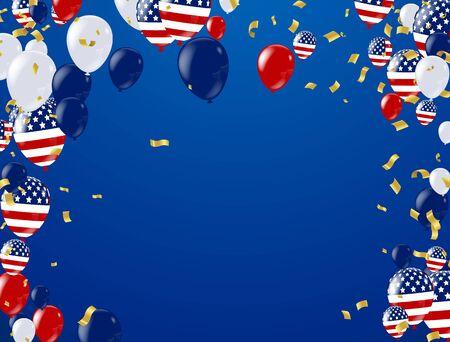 Czwarty lipca. Baner świąteczny 4 lipca, baner uroczystości. National American Greeting. Wektor z amerykańskimi flagami, balony, petardy, konfetti, serpentyny, kapelusz, ilustracji wektorowych