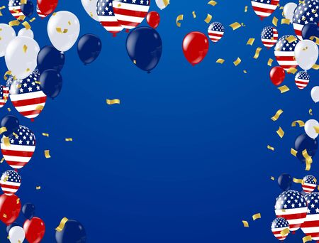 Fourth of July. 4th of July holiday banner, Celebration Banner. National American Greeting. Vector with American flags, balloons, petards, confetti, streamers, hat, vector illustration Illustration