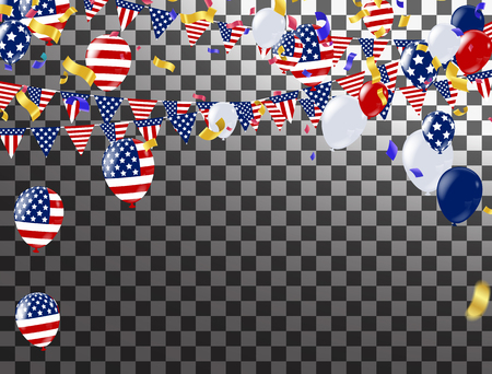 Happy 4th of July holiday banner. USA Independence Day Celebration Banner. National American Greeting. Vector