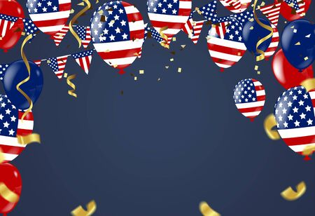 Fourth of July. 4th of July holiday banner. USA Independence Day banner for sale, discount, advertisement, Balloons Flag USA Stock Vector - 98295015