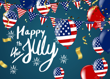 Fourth of July. 4th of July holiday banner. USA Independence Day banner for sale, discount, advertisement, Balloons Flag USA  Illustration